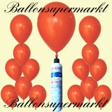 Luftballons Helium Set, Miniflasche, Latex-Luftballons in Orange
