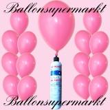 Luftballons Helium Set, Miniflasche, Latex-Luftballons in Rosa