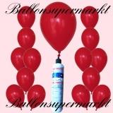 Luftballons Helium Set, Miniflasche, Latex-Luftballons in Rot
