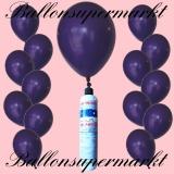 Luftballons Helium Set, Miniflasche, Latex-Luftballons in Violett