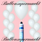 Luftballons Helium Set, Miniflasche, Latex-Luftballons in Weiß