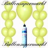 Luftballons Helium Set, Miniflasche, Latex-Luftballons in Zitronengelb