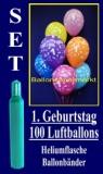 Luftballons Helium Set zum 1. Geburtstag, 100 Latex-Luftballons mit der Zahl 1