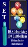 Luftballons Helium Set zum 10. Geburtstag, 100 Latex-Luftballons mit der Zahl 10