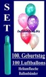 Luftballons Helium Set zum 100. Geburtstag, 100 Latex-Luftballons mit der Zahl 100
