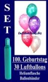 Luftballons Helium Set zum 100. Geburtstag, 30 Latex-Luftballons mit der Zahl 100