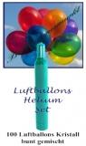 Luftballons Helium Set, 100 bunte Kristall-Latex-Luftballons mit Ballongas