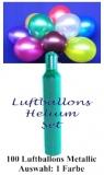 Luftballons Helium Set, 100 Metallic-Latex-Luftballons, Farbauswahl, mit Ballongas