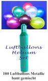 Luftballons Helium Set, 100 bunte Metallic-Latex-Luftballons mit Ballongas