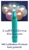 Luftballons Helium Set, 100 bunte Perlmutt-Latex-Luftballons mit Ballongas