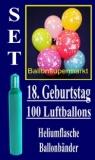 Luftballons Helium Set zum 18. Geburtstag, 100 Latex-Luftballons mit der Zahl 18