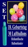 Luftballons Helium Set zum 18. Geburtstag, 30 Latex-Luftballons mit der Zahl 18