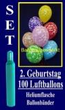 Luftballons Helium Set zum 2. Geburtstag, 100 Latex-Luftballons mit der Zahl 2