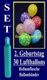 Luftballons Helium Set zum 2. Geburtstag, 30 Latex-Luftballons mit der Zahl 2