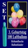 Luftballons Helium Set zum 3. Geburtstag, 100 Latex-Luftballons mit der Zahl 3