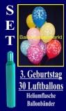 Luftballons Helium Set zum 3. Geburtstag, 30 Latex-Luftballons mit der Zahl 3