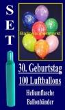 Luftballons Helium Set zum 30. Geburtstag, 100 Latex-Luftballons mit der Zahl 30