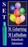 Luftballons Helium Set zum 30. Geburtstag, 30 Latex-Luftballons mit der Zahl 30