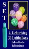 Luftballons Helium Set zum 4. Geburtstag, 30 Latex-Luftballons mit der Zahl 4