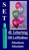 Luftballons Helium Set zum 40. Geburtstag, 100 Latex-Luftballons mit der Zahl 40