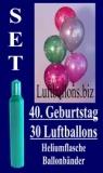 Luftballons Helium Set zum 40. Geburtstag, 30 Latex-Luftballons mit der Zahl 40