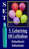 Luftballons Helium Set zum 5. Geburtstag, 100 Latex-Luftballons mit der Zahl 5