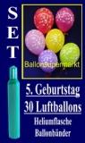 Luftballons Helium Set zum 5. Geburtstag, 30 Latex-Luftballons mit der Zahl 5