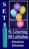 Luftballons Helium Set zum 50. Geburtstag, 100 Latex-Luftballons mit der Zahl 50