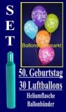 Luftballons Helium Set zum 50. Geburtstag, 30 Latex-Luftballons mit der Zahl 50