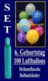 Luftballons Helium Set zum 6. Geburtstag, 100 Latex-Luftballons mit der Zahl 6