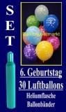 Luftballons Helium Set zum 6. Geburtstag, 30 Latex-Luftballons mit der Zahl 6