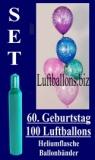 Luftballons Helium Set zum 60. Geburtstag, 100 Latex-Luftballons mit der Zahl 60