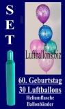 Luftballons Helium Set zum 60. Geburtstag, 30 Latex-Luftballons mit der Zahl 60