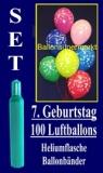 Luftballons Helium Set zum 7. Geburtstag, 100 Latex-Luftballons mit der Zahl 7