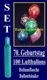 Luftballons Helium Set zum 70. Geburtstag, 100 Latex-Luftballons mit der Zahl 70