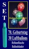 Luftballons Helium Set zum 70. Geburtstag, 30 Latex-Luftballons mit der Zahl 70