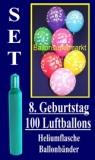 Luftballons Helium Set zum 8. Geburtstag, 100 Latex-Luftballons mit der Zahl 8