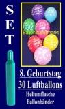 Luftballons Helium Set zum 8. Geburtstag, 30 Latex-Luftballons mit der Zahl 8