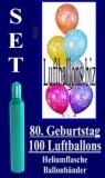 Luftballons Helium Set zum 80. Geburtstag, 100 Latex-Luftballons mit der Zahl 80