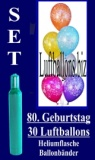 Luftballons Helium Set zum 80. Geburtstag, 30 Latex-Luftballons mit der Zahl 80