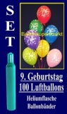 Luftballons Helium Set zum 9. Geburtstag, 100 Latex-Luftballons mit der Zahl 9