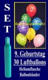 Luftballons Helium Set zum 9. Geburtstag, 30 Latex-Luftballons mit der Zahl 9