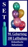 Luftballons Helium Set zum 90. Geburtstag, 100 Latex-Luftballons mit der Zahl 90