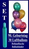 Luftballons Helium Set zum 90. Geburtstag, 30 Latex-Luftballons mit der Zahl 90