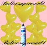 Luftballons Helium Set, Miniflasche, Herzluftballons in Gelb