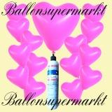 Luftballons Helium Set, Miniflasche, Herzluftballons in Rosa
