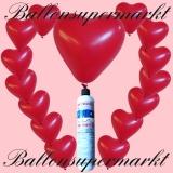 Luftballons Helium Set, Miniflasche, Herzluftballons in Rot