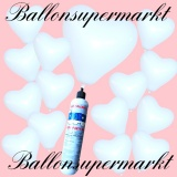 Luftballons Helium Set, Miniflasche, Herzluftballons in Weiß