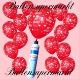 Luftballons Helium Set, Miniflasche, Latex-Luftballons in Rot, Just Married
