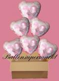 6 Luftballons mit Helium zur Hochzeit, Wedding Wishes, Glückwünsche zur Hochzeit, Folienballone